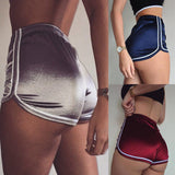 Women Sports Shorts Summer 2020 New Sexy Elastic High Waist Patchwork Skinny Hot Shorts Casual Lady Silvery Egde Short Pants - City Chick Fashions LLC