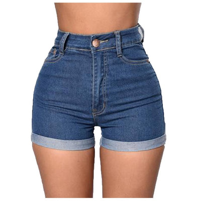 Women's shorts high waist elastic shorts denim blue jeans short woman enhancing body Denim short plus size sexy short 2020 - City Chick Fashions LLC