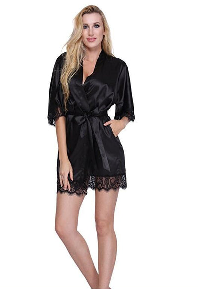 Sexy Short Satin Bride Robe Lace Kimono Women Wedding Sleepwear Summer - City Chick Fashions LLC