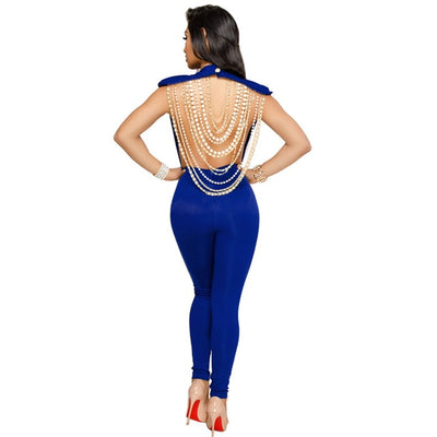Sexy Pearl Chain Backless Jumpsuit Female Outfits Bodycon Club Party Overalls  Womens Jumpsuit - City Chick Fashions LLC
