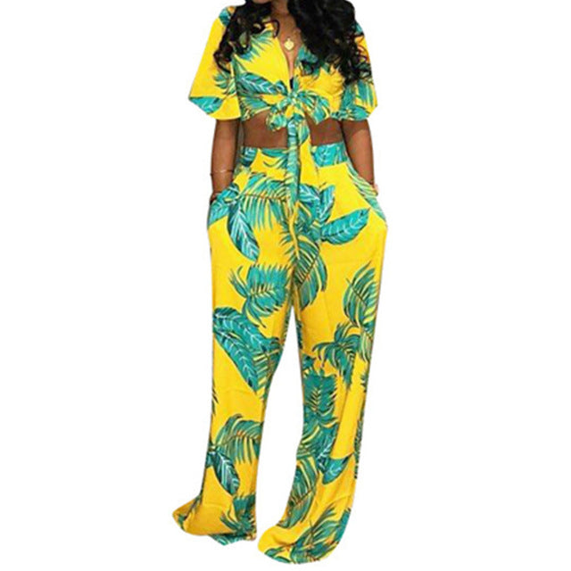 Flower Striped Sexy Two Piece Set Women Deep V-Neck Crop Top And Summer Wide Leg Long Pant - City Chick Fashions LLC