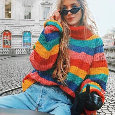 Rainbow turtleneck sweaters women winter jumpers knitted clothes fashion striped over-sized - City Chick Fashions LLC
