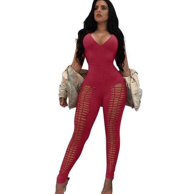 Sexy Jumpsuits Backless V Neck Strapless Party Black White Red Rompers Womens Jumpsuit - City Chick Fashions LLC