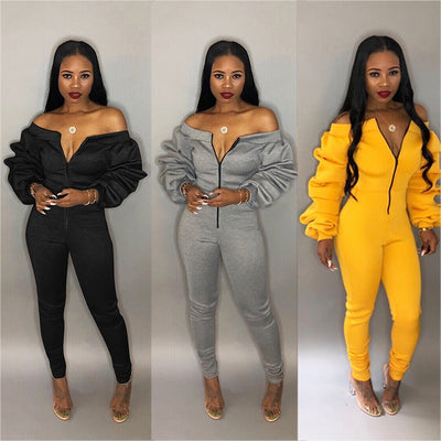 Women Elegant Jumpsuit Lantern Sleeve Front Zip Female Romper - City Chick Fashions LLC