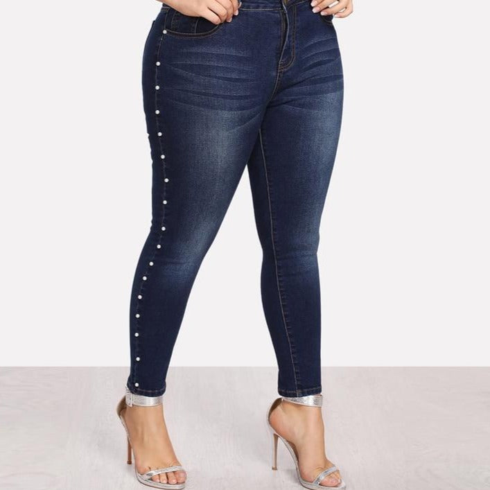 Pearl Beads Casual Denim Jeans For Women with Vintage Pocket Skinny Jeans - City Chick Fashions LLC