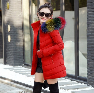 winter jacket women female coat Hooded Slim Outwear woman long parka Faux fox fur Cotton - City Chick Fashions LLC