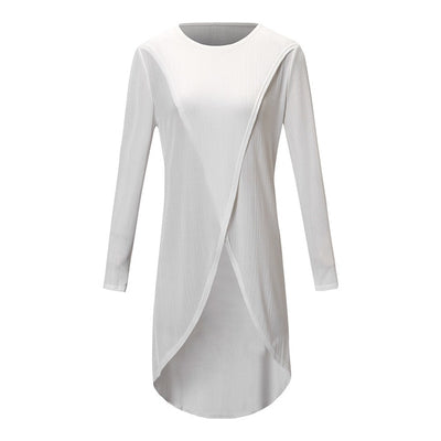 Womens tops Fashion Women Ladies Casual Long Sleeve Forking Irregular Tops Blouse Pullover Shirt - City Chick Fashions LLC