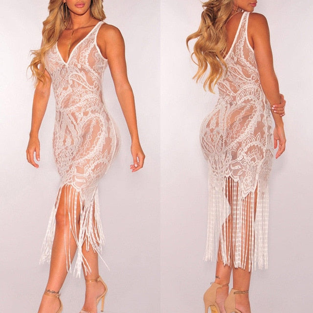 Hot Brand Women Bandage Bodycon Hollow out Lace Crochet Dress Soft Sundress - City Chick Fashions LLC