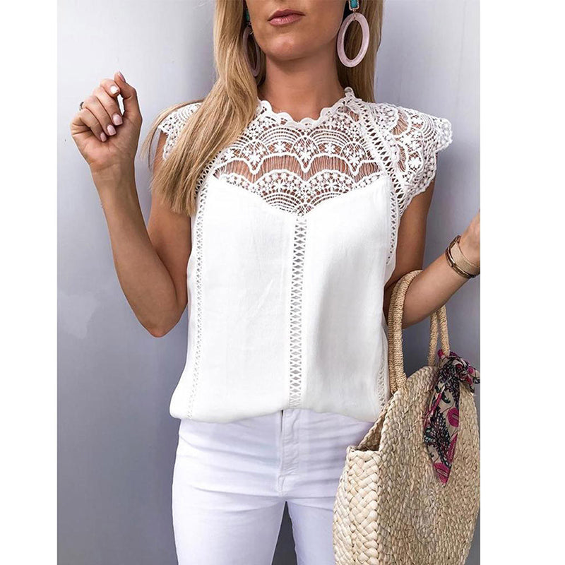 Summe Womens Tops And Blouses Lace Patchwork Sleeveless Solid Shirt - City Chick Fashions LLC