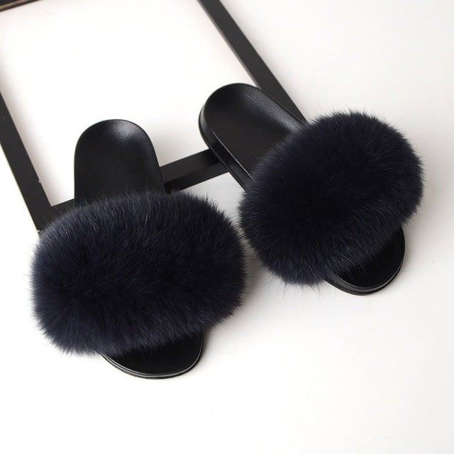 Slippers Women Fox Fur Slides Home Furry Flat Sandals Female Fluffy House Shoes - City Chick Fashions LLC