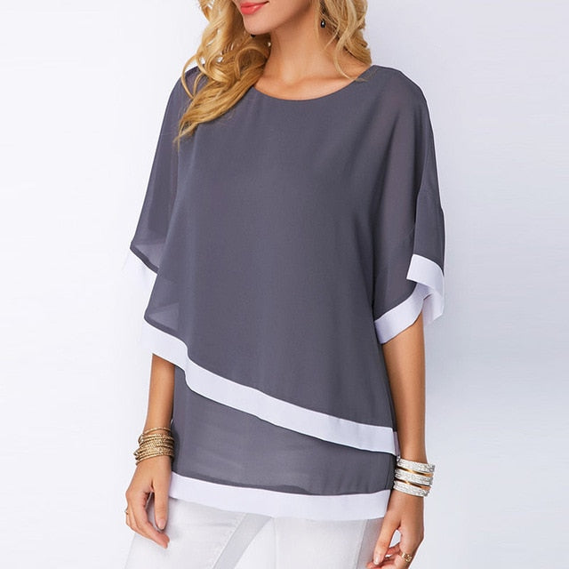 New Casual Short Sleeve Women Tops and Blouses Fashion Patchwork Shirt - City Chick Fashions LLC