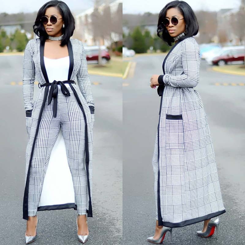 3 Pieces Set Women Crop Top&Pencil Pants&Jacket Office Lady Elegant Patchwork Long Sleeves Casual - City Chick Fashions LLC