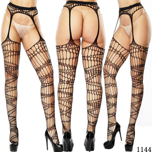 Women Sexy Lingerie Stockings Garter Belt Fishnet Tights Transparent Pantyhose - City Chick Fashions LLC