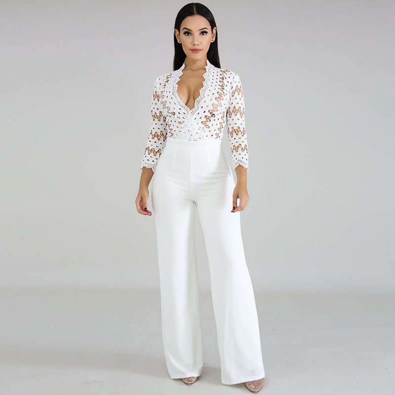 Long Sleeve Sexy Women One Piece Elegant Party Evening Cocktail Wedding Wide Leg - City Chick Fashions LLC