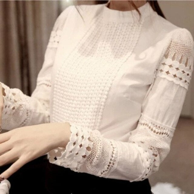 Lace Chiffon Blouse Women Shirt Plus Size Casual ladies long sleeve Womens - City Chick Fashions LLC