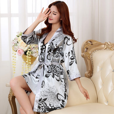 2PC Nightgown Sleepshirts Womens Robe Mini Kimono Bath Gown Faux Silk Sleepwear Casual Female Dress - City Chick Fashions LLC