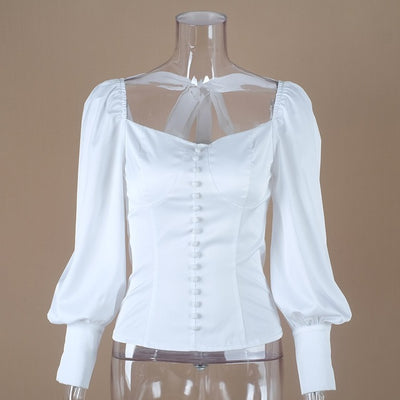 White Tunic Women Blouse Shirt Female Summer Sexy Puff Sleeve Tops Ladies Office - City Chick Fashions LLC