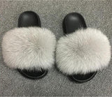 Summer Women's Fur Slippers Fox Fur Woman Slides Home Furry Flat Sandals - City Chick Fashions LLC