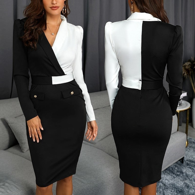 Women Elegant Office Dress Summer Black And White Patchwork Tunic Midi Dresses - City Chick Fashions LLC