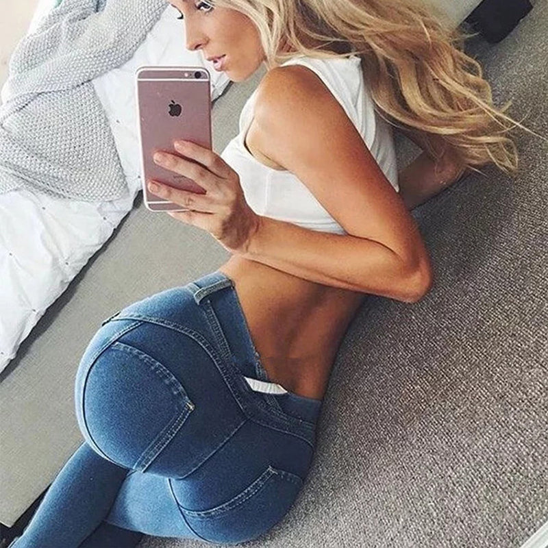 Fashion Cotton Women Jeans Leggings Low Waist Elastic Sexy Push Up Jeans - City Chick Fashions LLC
