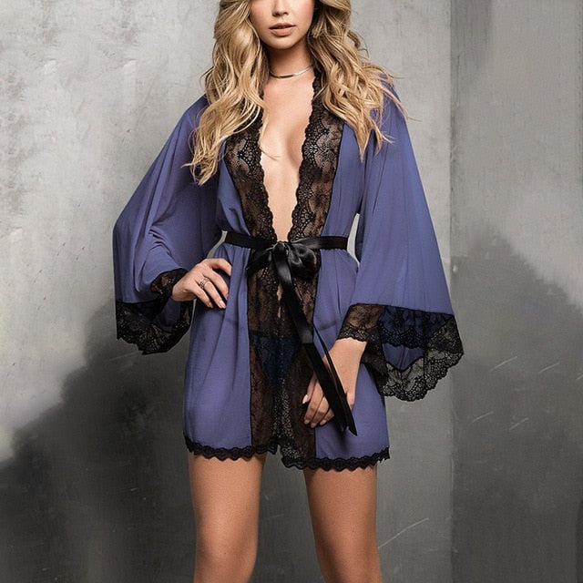 Women's Lace Robe Solid Color Perspective Lace Robe Sexy Women Attractive Home Wearing - City Chick Fashions LLC