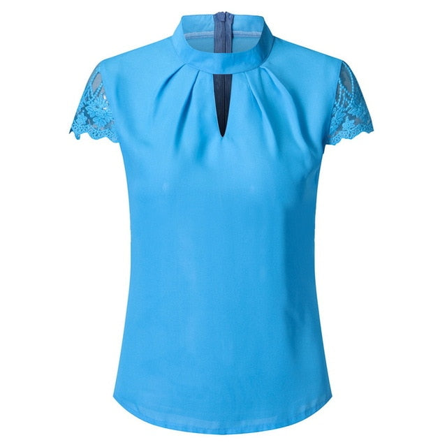 Women Hollow Out Tops Solid Casual Office Shirts Plus Size V Neck Street wear - City Chick Fashions LLC