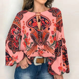 Floral Print Lantern Sleeve Shirt Sexy Lace-up Tassel O Neck Women Tops Spring Summer Chic Blouses - City Chick Fashions LLC