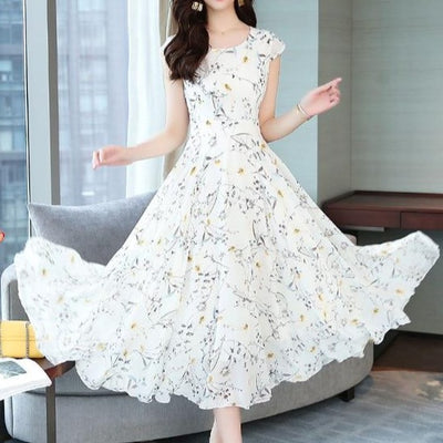 Jielur Chiffon Dress Women Summer Short Sleeve Floral Print Boho Dress Slim Vacation Asymmetry White Dresses Elegant Vestidos - City Chick