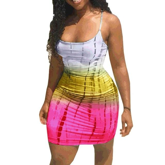 Plus Size Tie Dye Mini Dress Sexy Club Wear Summer Clothes For Women - City Chick Fashions LLC