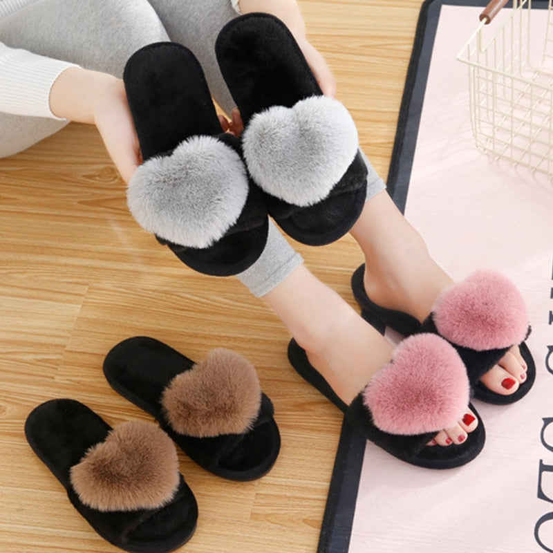 Women Slippers Women Love Heart Cotton Slippers Winter Non-Slip Floor Home - City Chick Fashions LLC