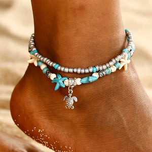 Layered Anklet w/ Sea Turtle