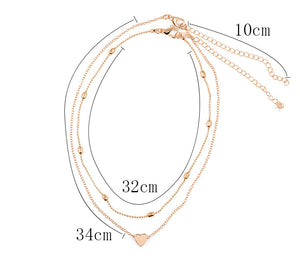 Gold Multi-Layer Hear Necklace