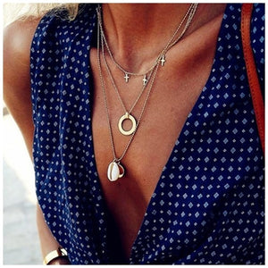Shell Cross Multilayer Necklaces