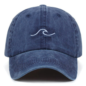 Navy Blue Wave Baseball Hat