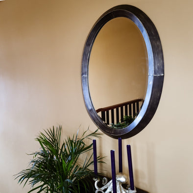 Antique Brass Oval Wall Mirror in Mirrors from Oriana B. www.orianab.com