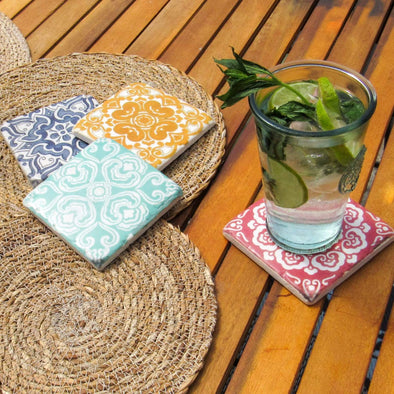 Antique Victorian Tile Coasters | Set of 4 in Storage from Oriana B. www.orianab.com
