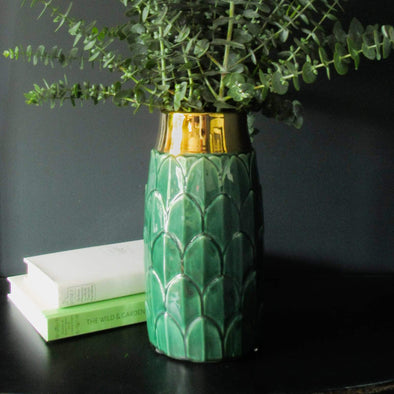 Art Deco Inspired Vase | 30 CM in Vases & Plant Pots Jade Green from Oriana B. www.orianab.com