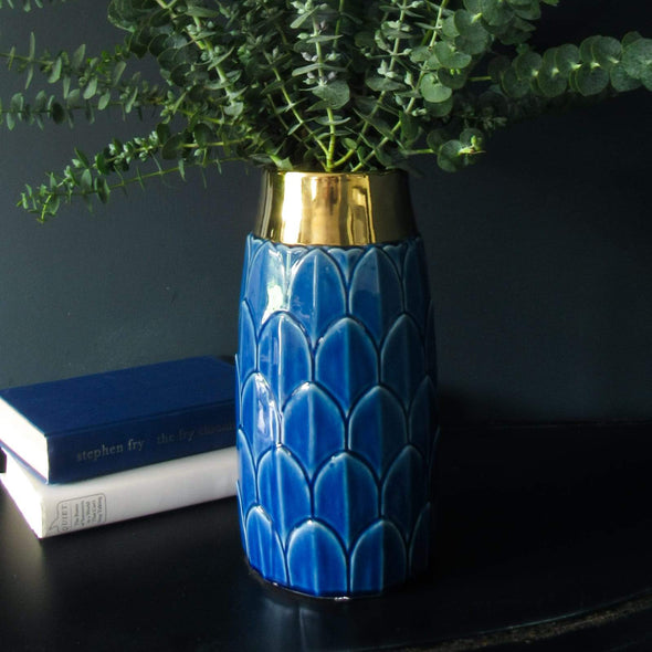Art Deco Inspired Vase | 30 CM in Vases & Plant Pots Peacock Blue from Oriana B. www.orianab.com