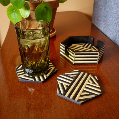 Bamboo Coasters | Natural and Black |Set of 4 in Storage from Oriana B. www.orianab.com