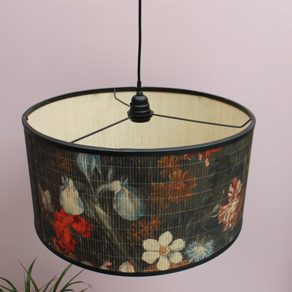 Black and Floral Bamboo Ceiling Pendant in Lighting from Oriana B. www.orianab.com