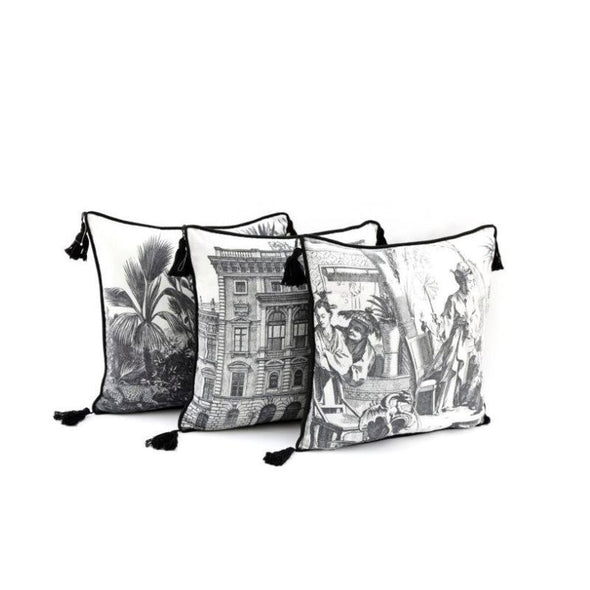 Black and White Cushions with Tassels | Set of 3 in Cushions from Oriana B. www.orianab.com