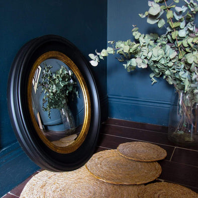 Black Convex Mirror with Gold Trim | 52cm in Mirrors from Oriana B. www.orianab.com