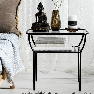 Black & Glass Side Table in Tables from Oriana B. www.orianab.com