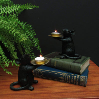Black & Gold Mice Candle Holders in Candles & Holders from Oriana B. www.orianab.com