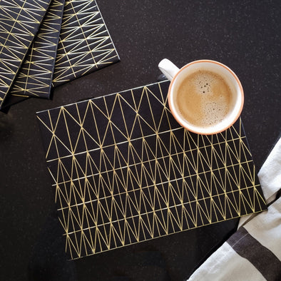 Black & Gold Placemats | Set of 4 in from Oriana B. www.orianab.com