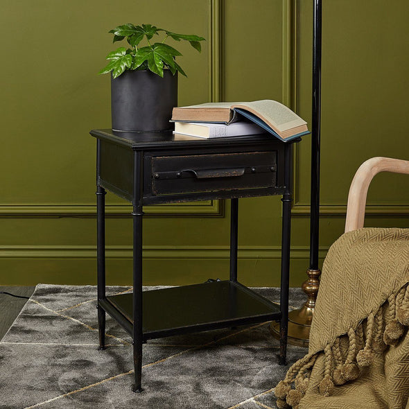 Black Metal Bedside Table in from Oriana B. www.orianab.com