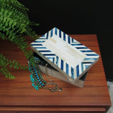 Blue & White Bone Inlay Storage Box in Storage from Oriana B. www.orianab.com