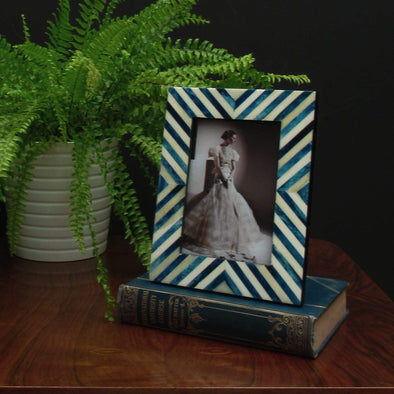 Blue & White Photo Frame | 7x5 in Ornaments from Oriana B. www.orianab.com