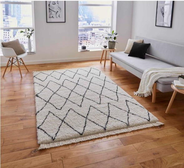 Boho White & Black Rug in Rugs from Oriana B. www.orianab.com