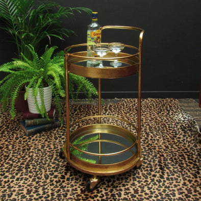 Brass Bar Cart | Two tiered in Tables from Oriana B. www.orianab.com